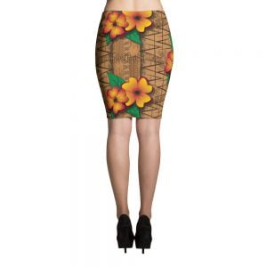 tiki style floral retro pencil skirt