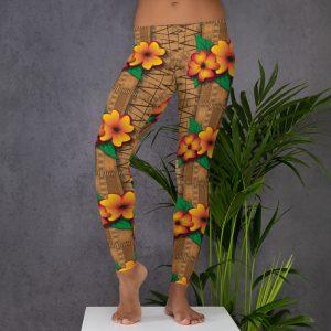 tiki style floral leggings