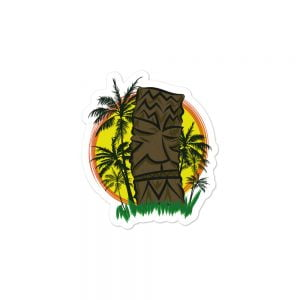Tiki Sunset and palm trees sticker