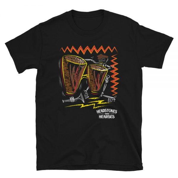 Bongo playing skeleton on a black t-shirt - unisex