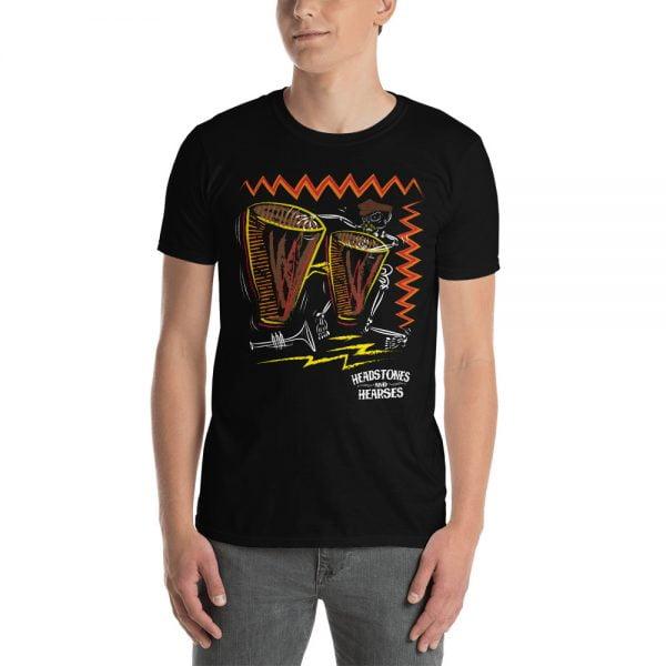 Bongo playing skeleton on a black t-shirt - mens