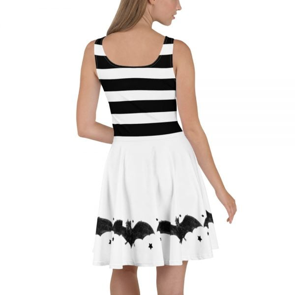 back view - black and white stripes and bats skater style dress