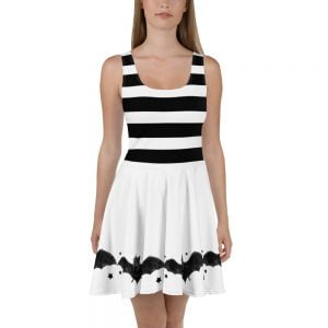 front - black and white stripes and bats skater style dress
