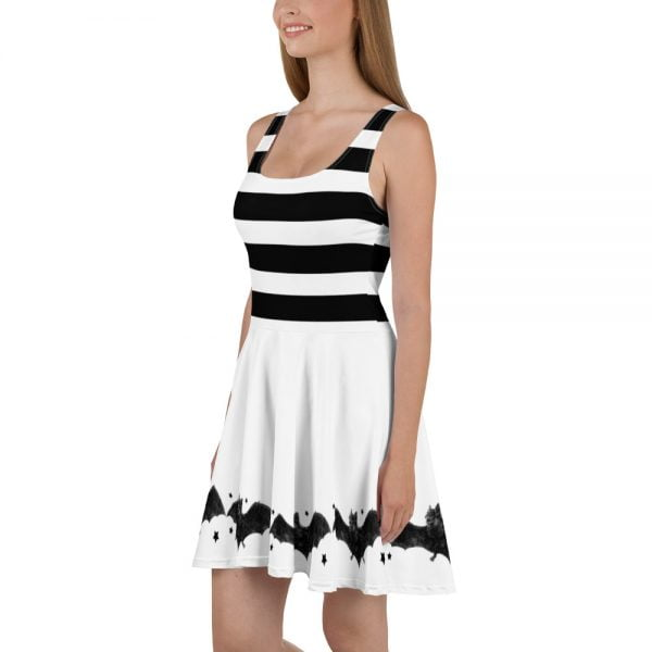 side - black and white stripes and bats skater style dress