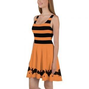 black and orange stripes and bats skater style dress