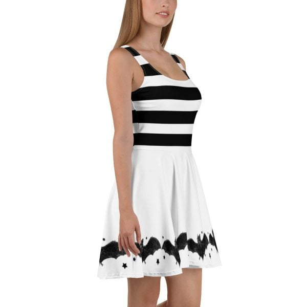 black and white stripes and bats skater style dress