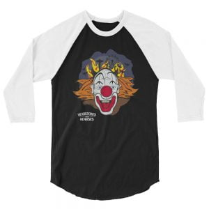 crazy clown baseball shirt, black with white sleeves