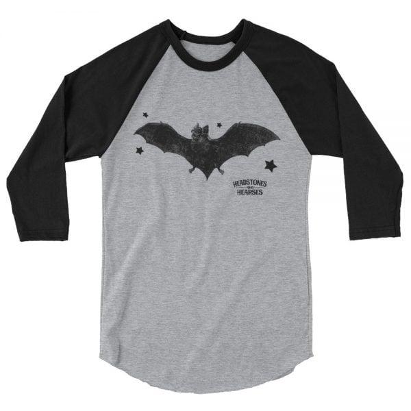 balck bat baseball shirt, heather with black sleeves