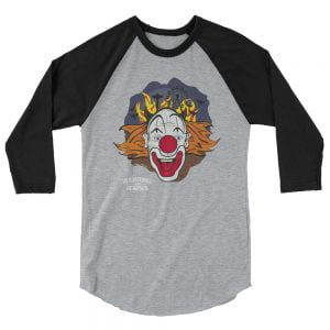 crazy clown baseball shirt, heather with black sleeves