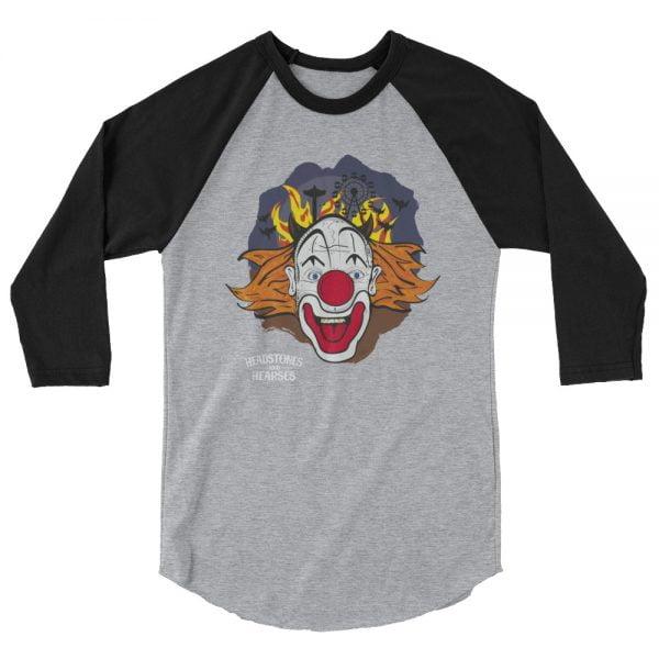 crazy clown baseball shirt, heather with black sleeves