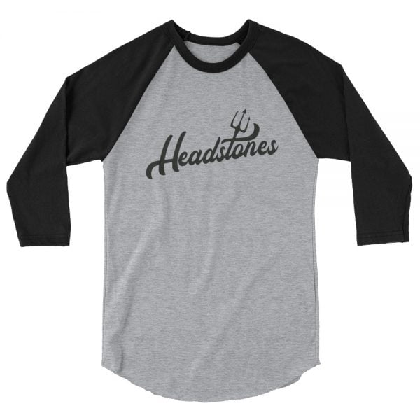 Headstones baseball shirt, heather with black sleeves