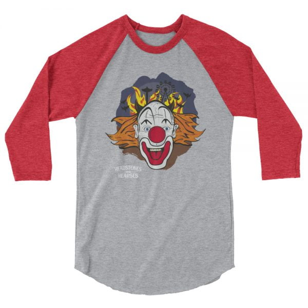 crazy clown baseball shirt, heather with red sleeves