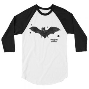 balck bat baseball shirt, white with black sleeves