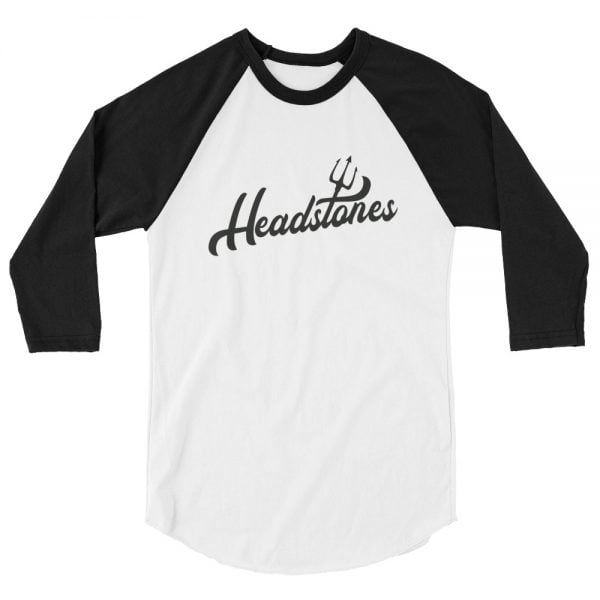 Headstones baseball shirt, white with black sleeves