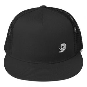small embroidered skull trucker hat