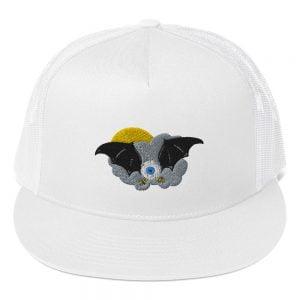flying bat eyeball trucker hat