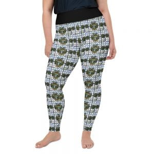 stained glass style plus size leggings with black waist