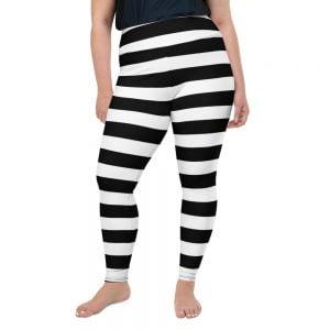 black and white stripe plus size leggings