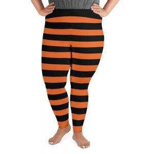 Black and Orange stripe plus size leggings