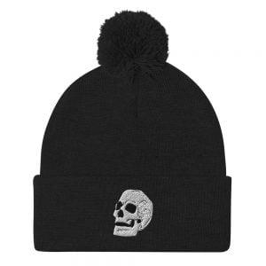 black embroidered skull beanie