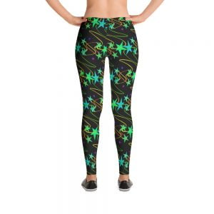 black leggings with black starts and bright colors