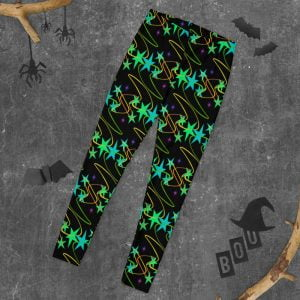 halloween time background - black leggings with black starts and bright colors