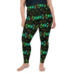 sassy bright stars and squiggles on black leggings